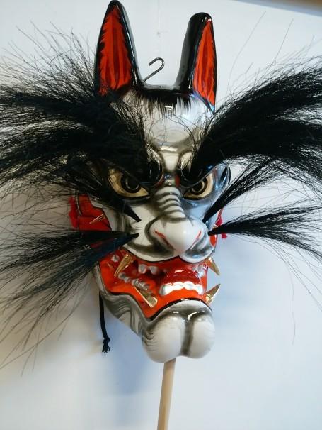 【舞面】狐(黒)(左向き)